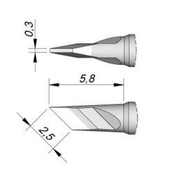 Наконечник JBC C115-212 ножевидный 2,5 х 0,3 мм (высокая теплопередача)