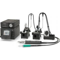 Двухканальная ремонтная станция JBC DDSE-2QC с паяльником T245-A, вакуумным паяльником DR560-A и электрическим компрессором MSE-A