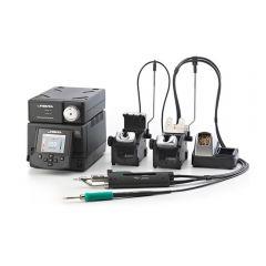 Двухканальная ремонтная станция JBC DDVE-2B с паяльником T245-A, вакуумным паяльником DR560-A и пневматическим компрессором MVE-A