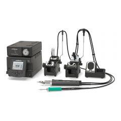Двухканальная ремонтная станция JBC DDVE-2QC с паяльником T245-A, вакуумным паяльником DR560-A и пневматическим компрессором MVE-A