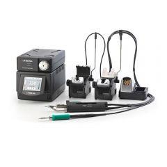 Четырёхканальная ремонтная станция JBC DMSE-2A с паяльником T245-A, вакуумным паяльником DR560-A и электрическим компрессором MSE-A